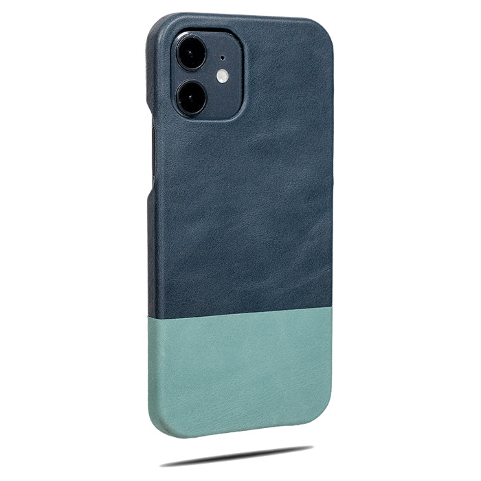 Peacock Blue & Ocean Blue iPhone 12 Lærveske-Kulör Cases- Tilpasset Apple telefon Veske