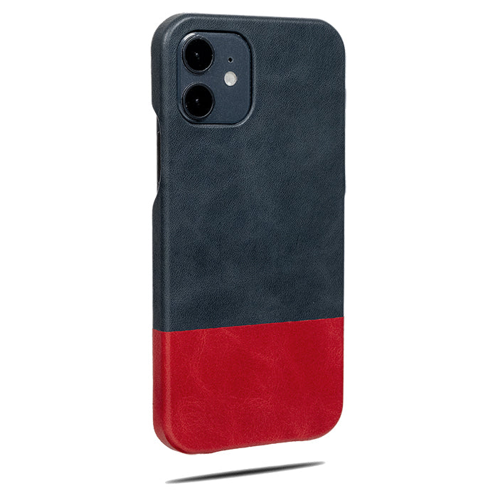 Peacock Blue & Crimson Red iPhone 12 Leather Case-Kulör Cases- Custom Apple Phone Case