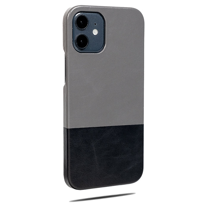 Fossil Gray & Crow Black iPhone 12 Leather Case-Kulör Cases- Custom Apple Phone Case