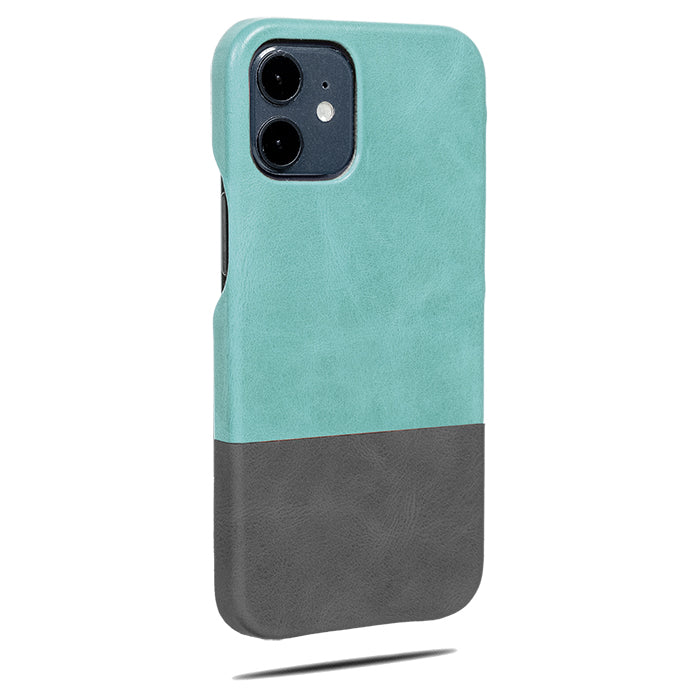 Ocean Blue & Pebble Grey iPhone 12 Max Lærveske-Kulör Cases- Tilpasset Apple telefon Veske