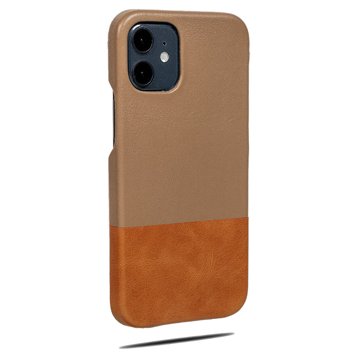 Sage Green & Walnut Brown iPhone 12 Leather Case-Kulör Cases- Custom Apple Phone Case