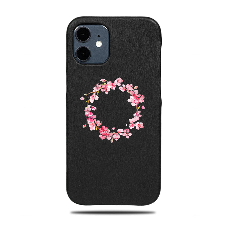 Personalized Pink Flowers iPhone 12 mini Black Leather Case