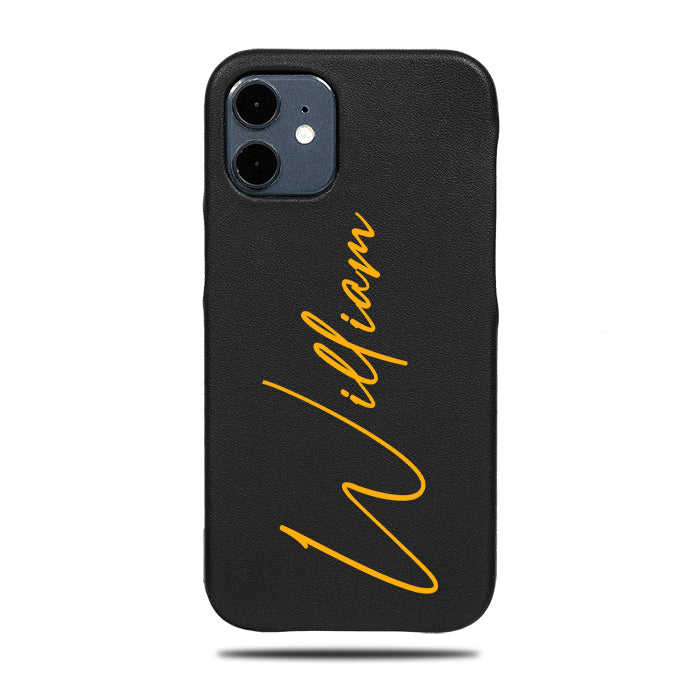 Personalized Apple iPhone Cases-Personalized Signature iPhone 12 mini Black Leather Case-iPhone 12 mini Leather Snap-On Case-Kulör Cases