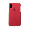 Scarlet Red Micro Suede iPhone Xs / iPhone X Monogram Case-Kulör Cases