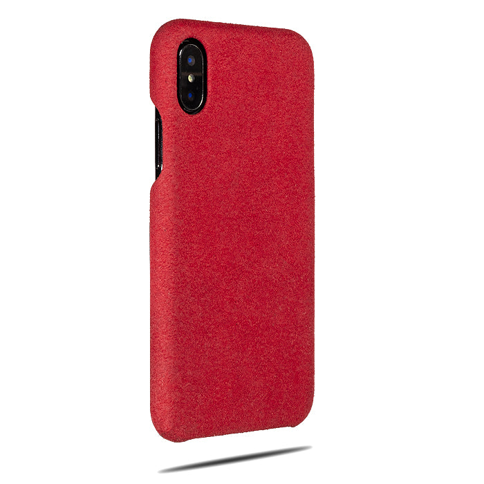 Scarlet Red Micro Suede iPhone Xs / iPhone X Monogram Case