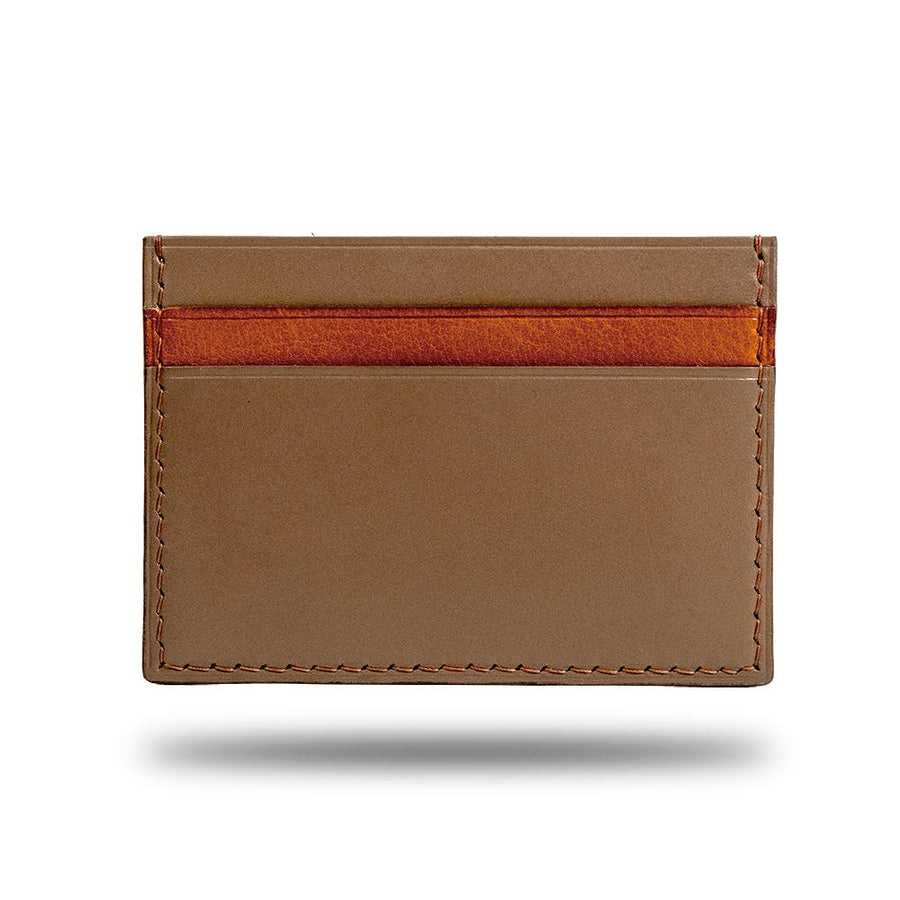 Sage Green & Walnut Brown Leather Slim Cardholder