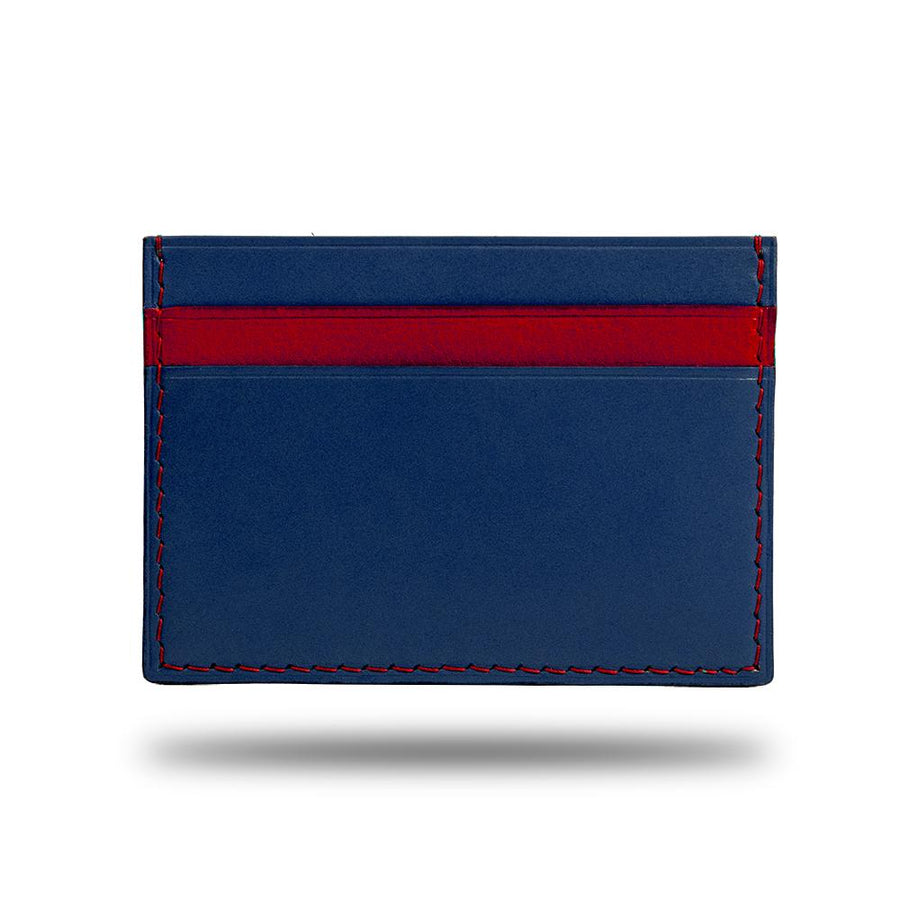Peacock Blue & Crimson Red Leather Slim Cardholder