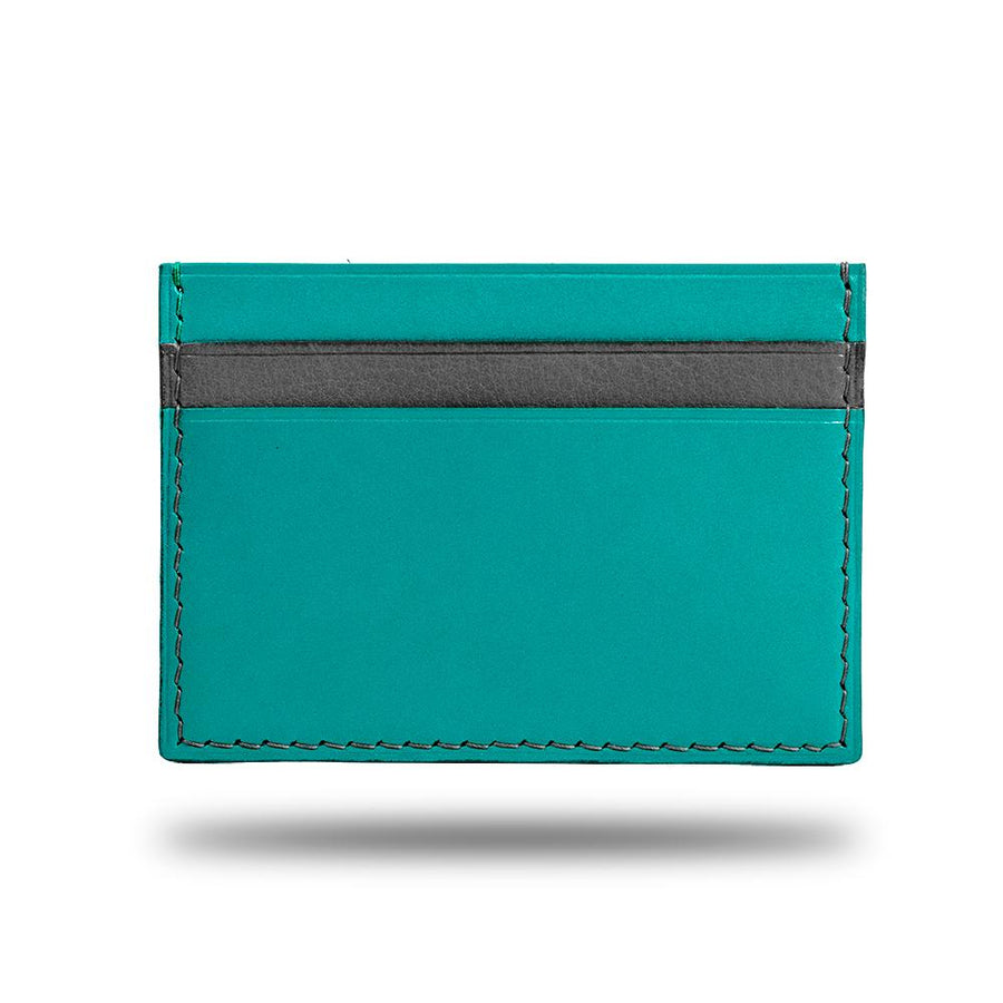 Ocean Blue & Pebble Gray Leather Slim Cardholder