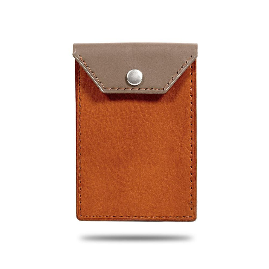 Sage Green & Walnut Brown Leather Business Cardholder