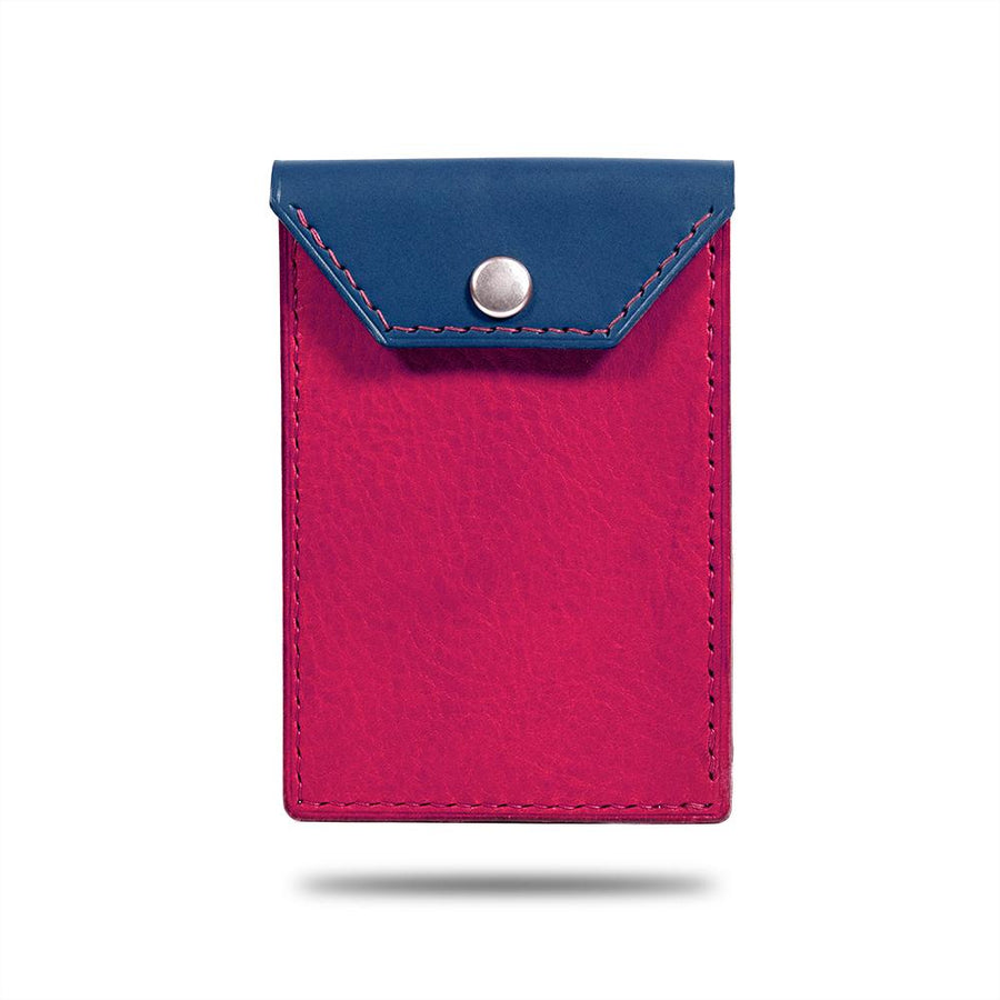 Peacock Blue & Crimson Business Cardholder av rødt skinn