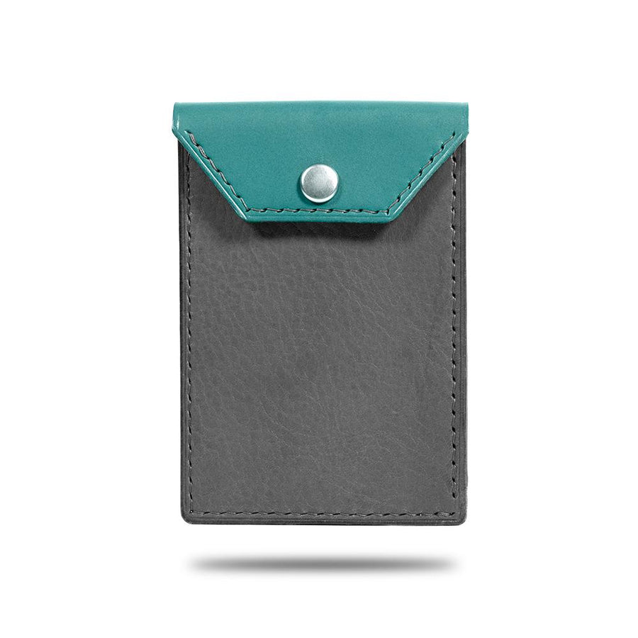 Ocean Blue & Pebble Gray Leather Business Cardholder