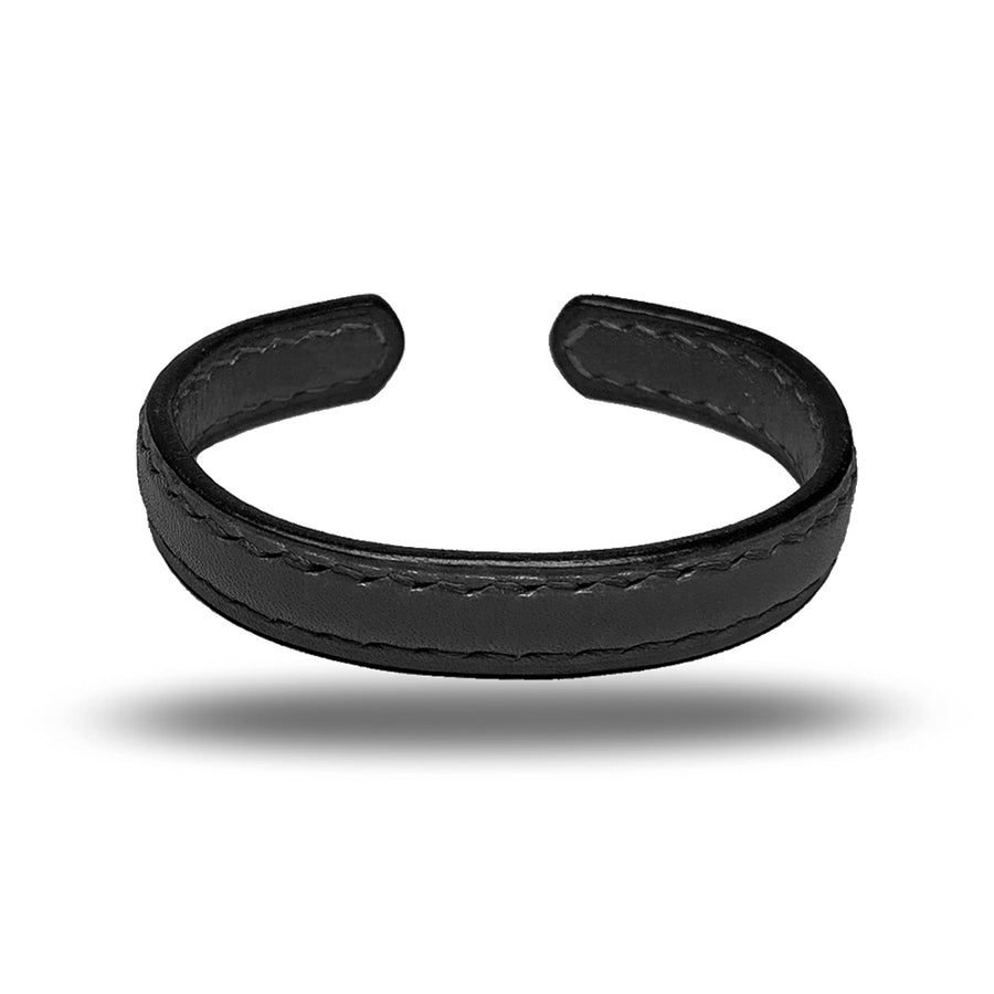 All Black Leather Bracelet