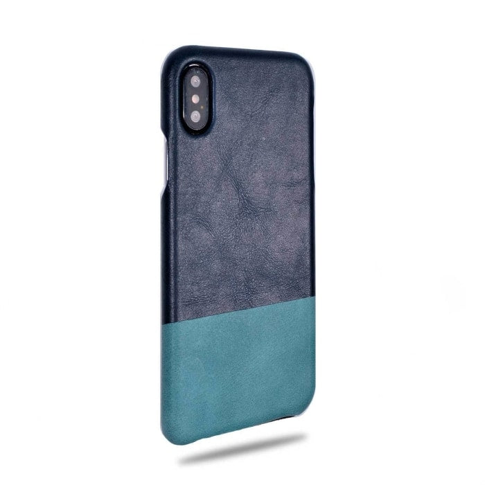 Kjøp personlig Peacock Blue & Ocean Blue iPhone Xs / iPhone X Leather Case online-Kulör Cases