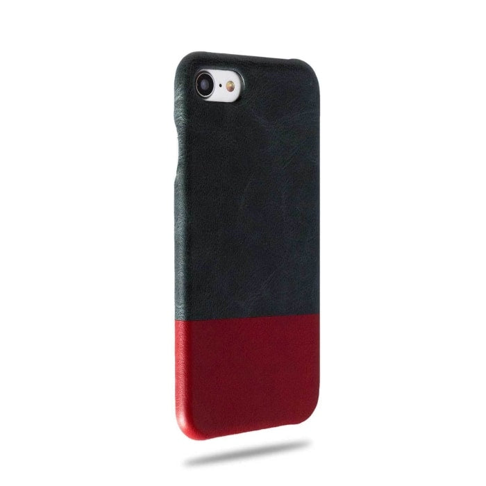 Peacock Blue & Crimson Red iPhone SE 2 (2020) / iPhone 8 / iPhone 7 Lærveske-iPhone 8 / iPhone 7 Lær Snap-On-deksel-Kulör Cases