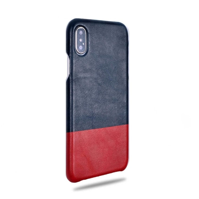 Kjøp personlig Peacock Blue & Crimson Red iPhone Xs / iPhone X Leather Case online-Kulör Cases