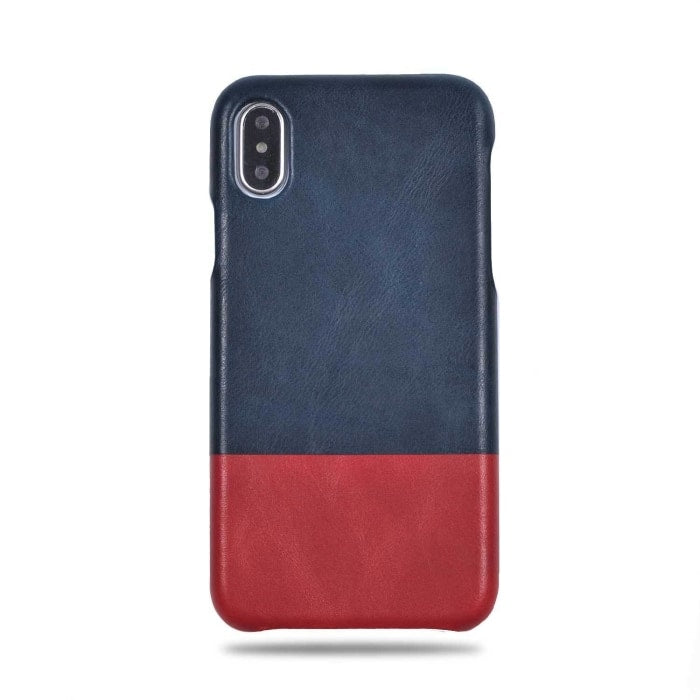 online retailer ccac2 8c41d Peacock Blue & Crimson Red iPhone Xs / iPhone X Leather Case