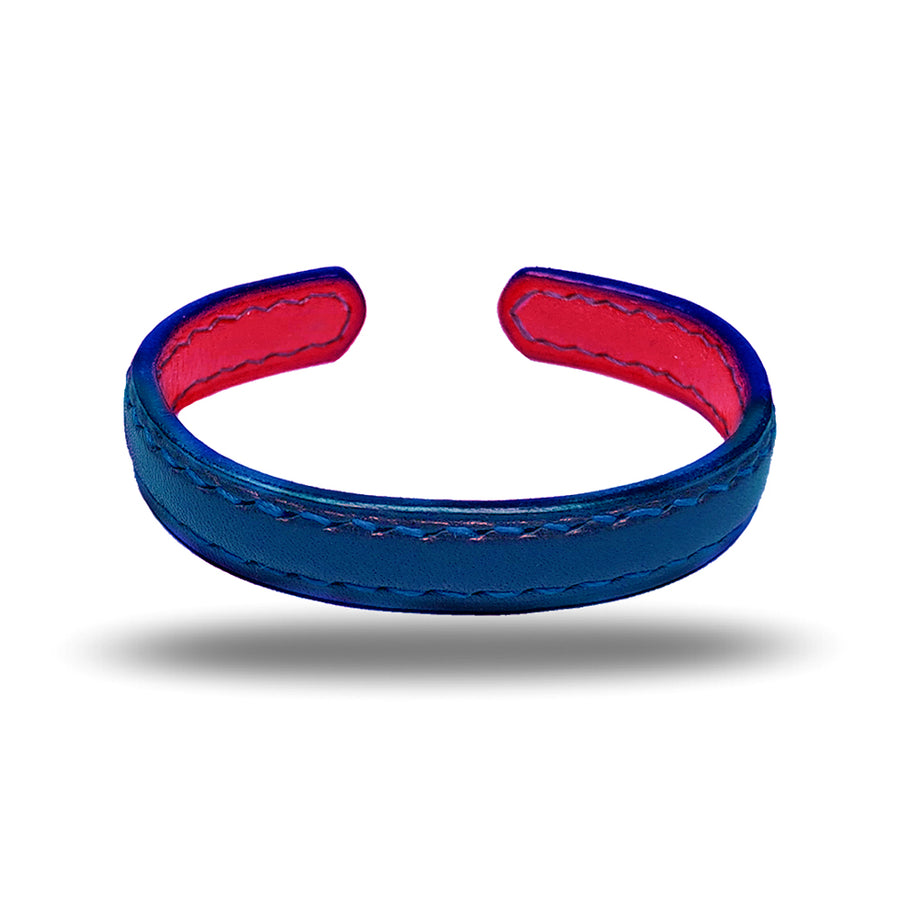 Peacock Blue & Crimson Red Leather Bracelet
