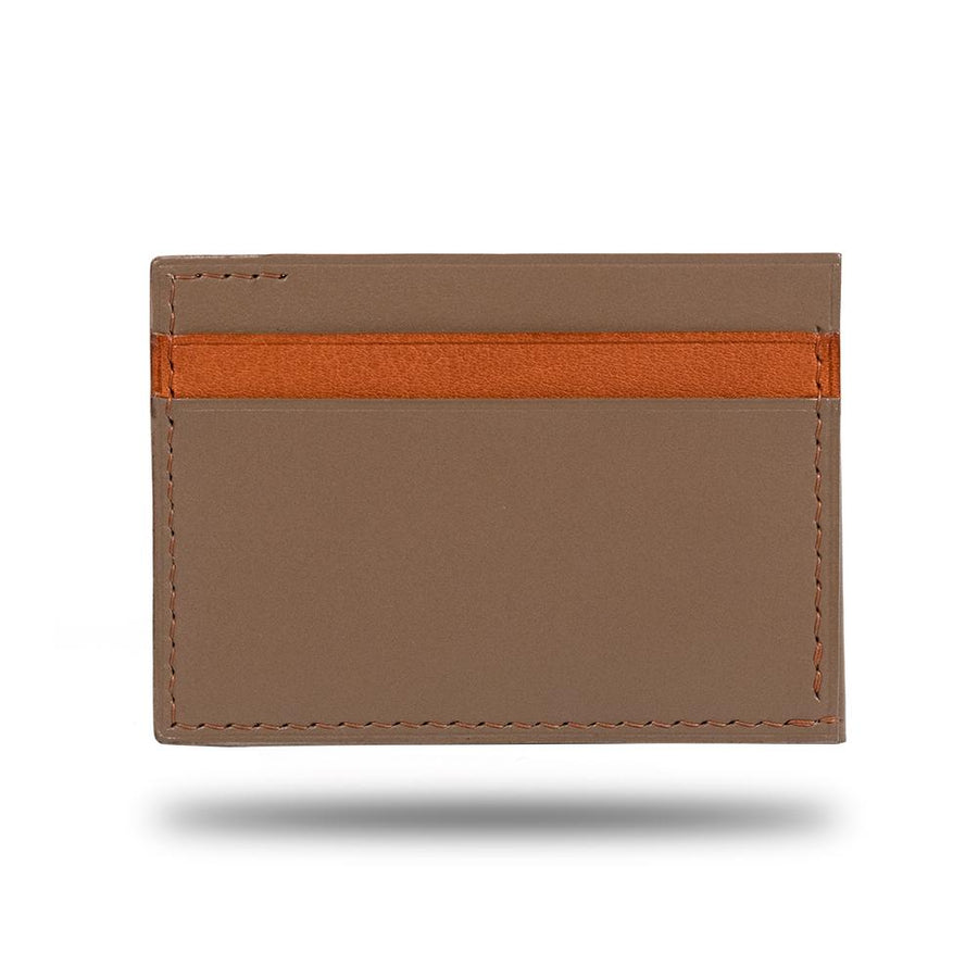 Sage Green & Walnut Brown Leather Envelop Style Cardholder