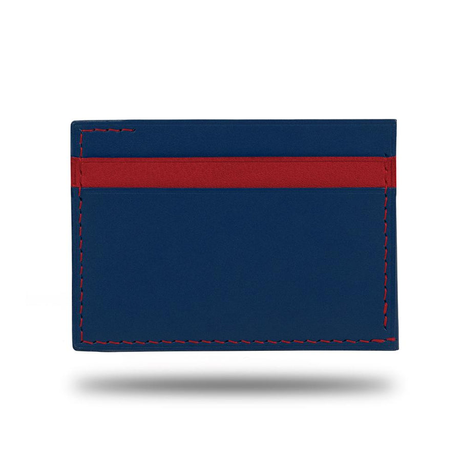 Peacock Blue & Crimson Red Leather Envelop Style Cardholder