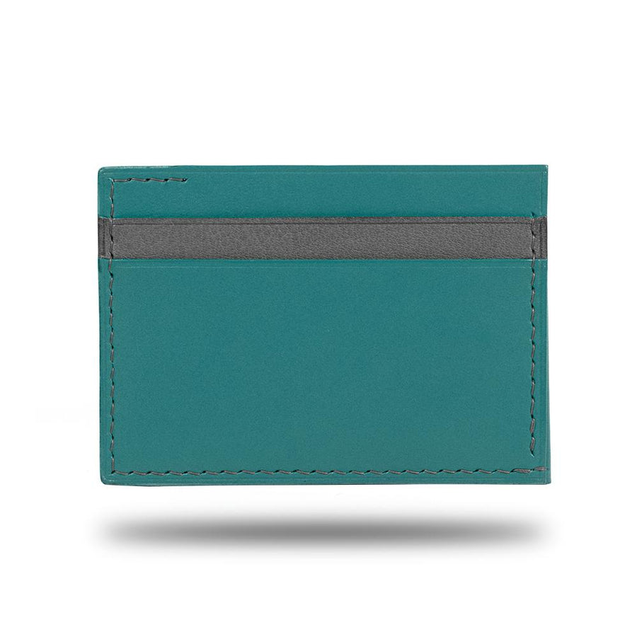 Ocean Blue & Pebble Gray Leather Envelop Style Cardholder