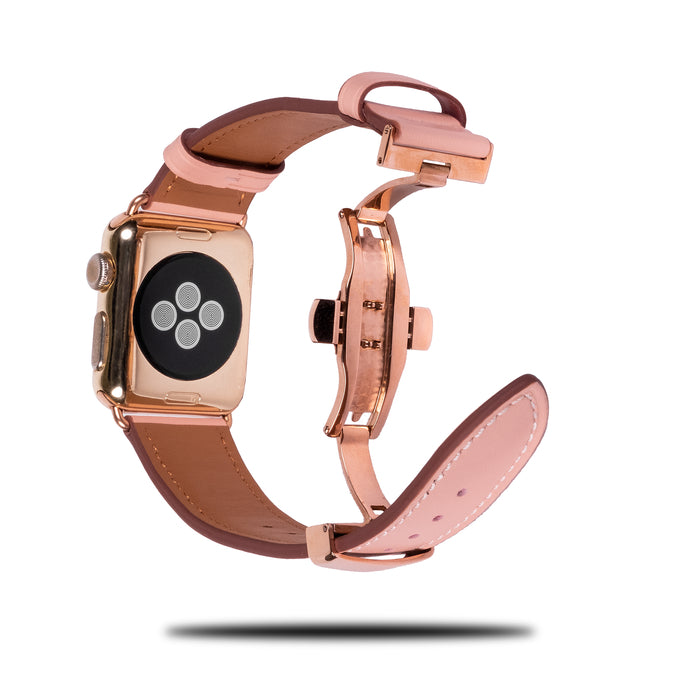 Blush Pink Leather Apple Watch Deployant Band & Buckle-Apple Watch Band-Kulör Cases