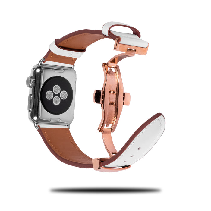 Perlehvit lær Apple Watch Distribuerende band og spenne-Apple Watch Band-Kulör Cases