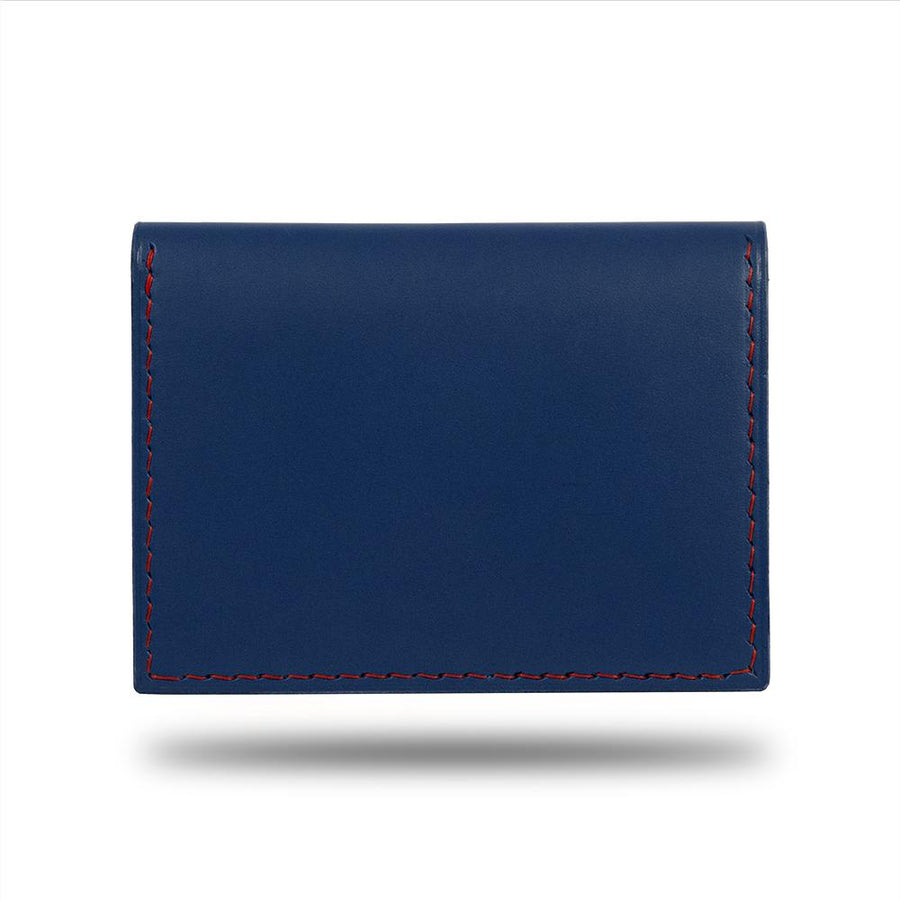 Peacock Blue & Crimson Red Leather Bidfold Cardholder-Kulör Cases
