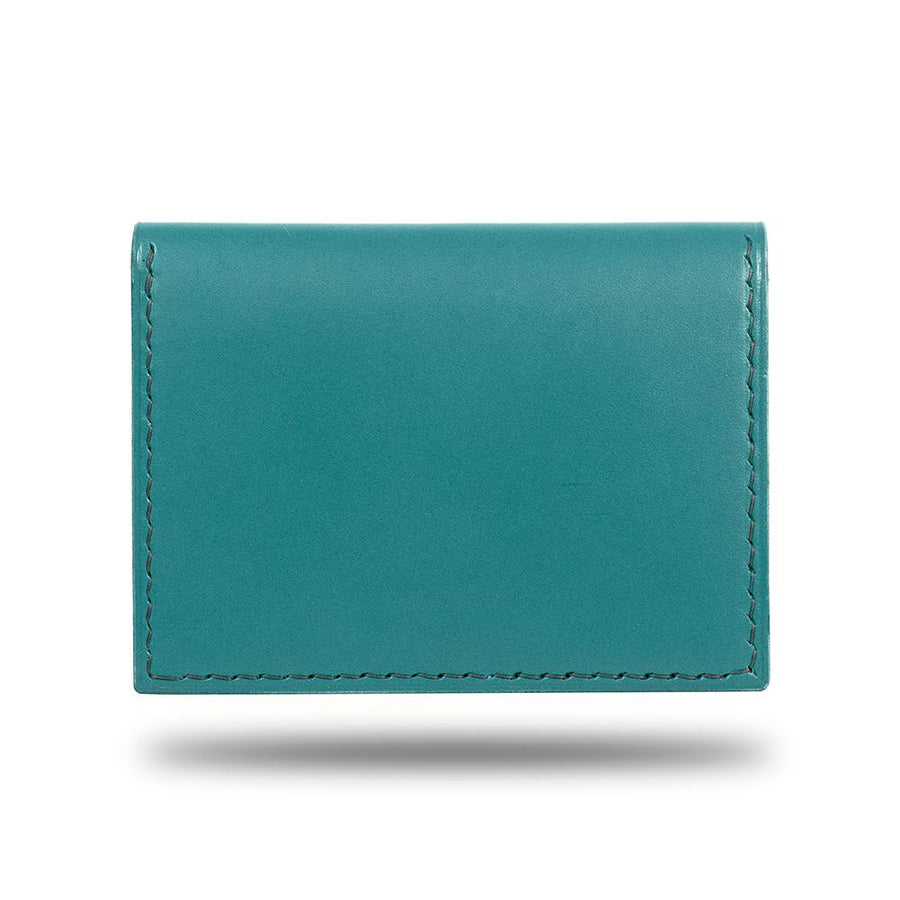 Ocean Blue & Pebble Gray Leather Bidfold Cardholder