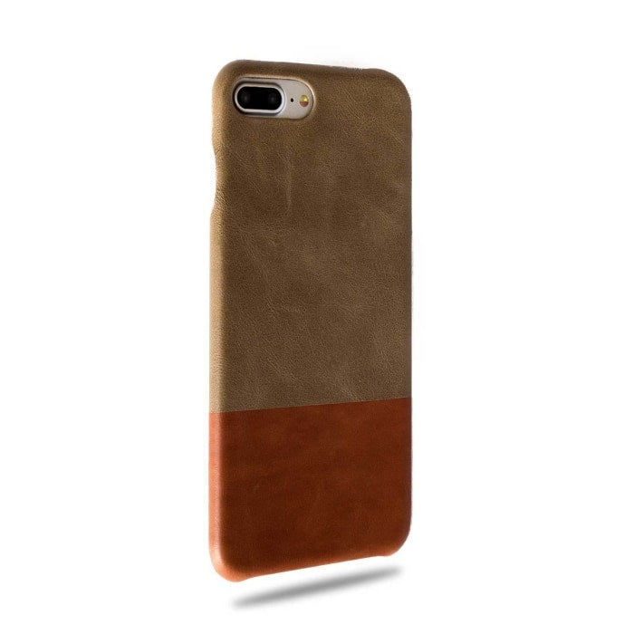 Sage Green & Walnut Brown Iphone 8 Plus / Iphone 7 Plus Leather Case - Iphone 7 Plus Leather Snap-On Case
