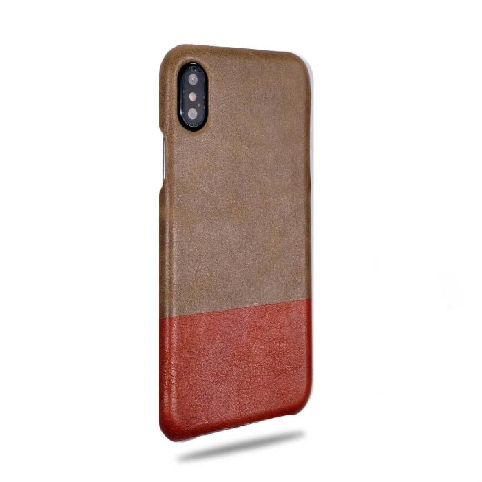 Sage Green & Walnut Brown Iphone X Leather Case - Iphone X Leather Snap-On Case