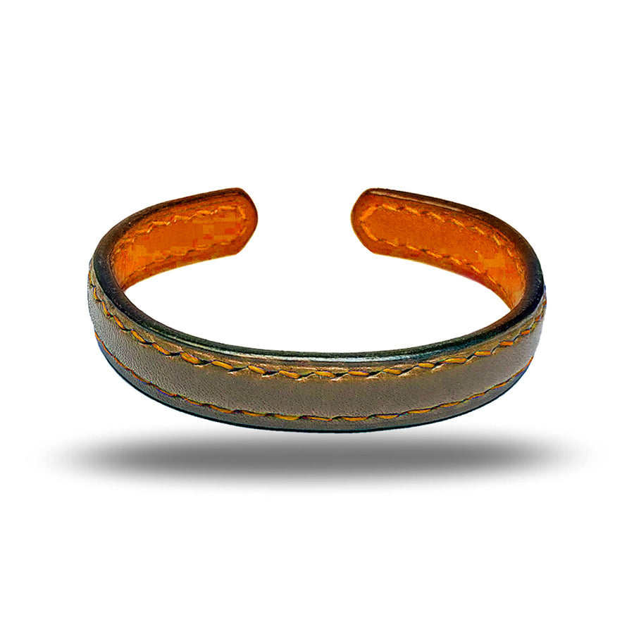 Sage Green & Walnut Brown Leather Bracelet