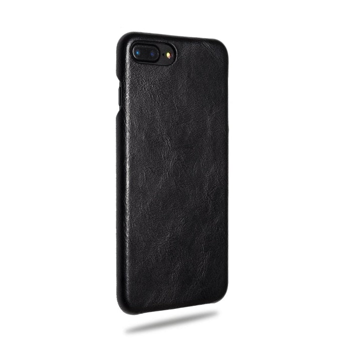 Kjøp personlig tilpasset All Black iPhone 8 Plus / iPhone 7 Plus Lærveske online-Kulör Cases