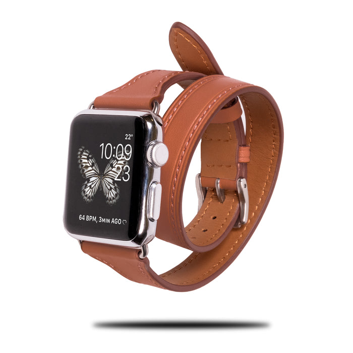 Karamellbrunt lær Apple Watch Dobbelt turbånd og armbåndsrem-Apple Watch Band-Kulör Cases