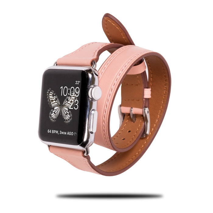 Blush Pink Leather Apple Watch Dobbelt turbånd og armbåndsrem-Apple Watch Band-Kulör Cases