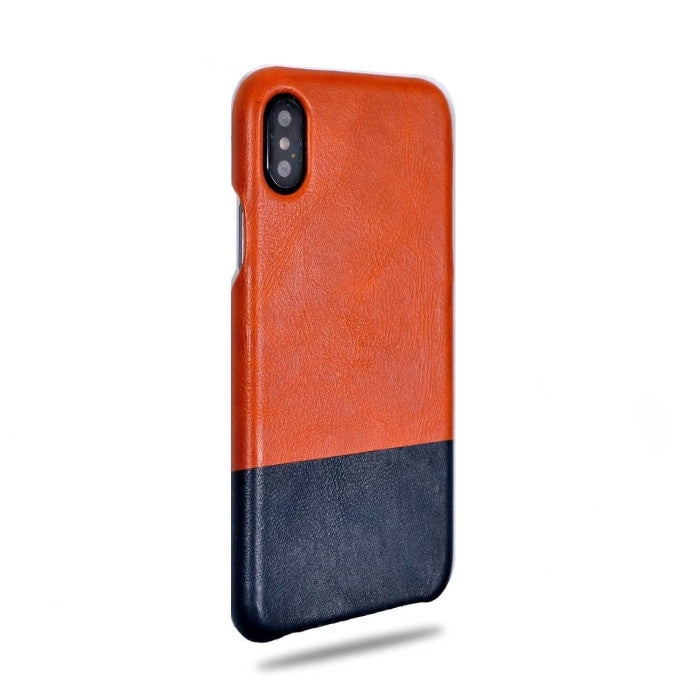 Kjøp personlig Cider Orange & Peacock Blue iPhone Xs / iPhone X Leather Case online-Kulör Cases