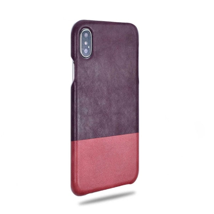Wine Purple & Rosewood Pink iPhone Xs / iPhone X Leather Case-Kulör Cases