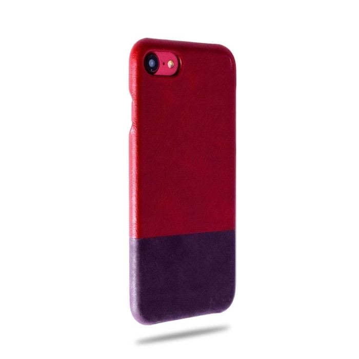 Crimson Red & Wine Purple iPhone SE 2 / iPhone 8 / iPhone 7 Lærveske (utgått) -iPhone 8 / iPhone 7 Snap Snap-On-lær -Kulör Cases