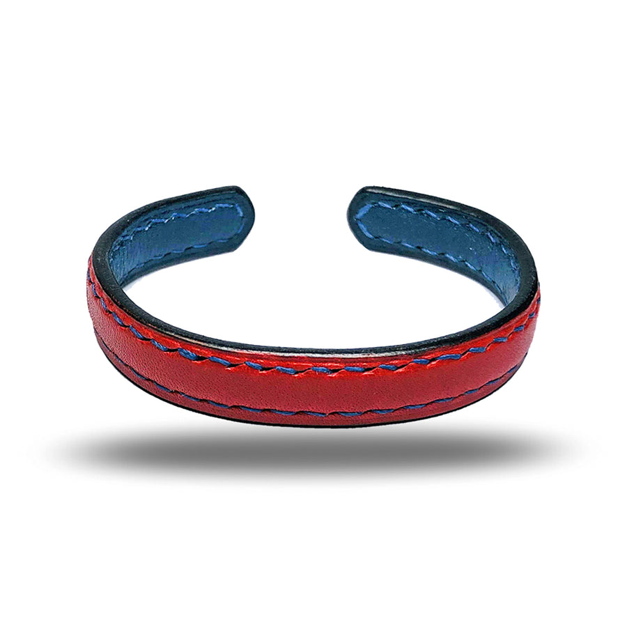 Crimson Red & Peacock Blue Leather Bracelet