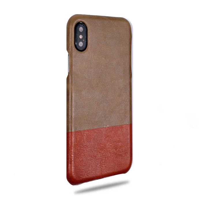 Kjøp personlige Sage Green & Walnut Brown iPhone Xs Max Lærveske online-Kulör Cases