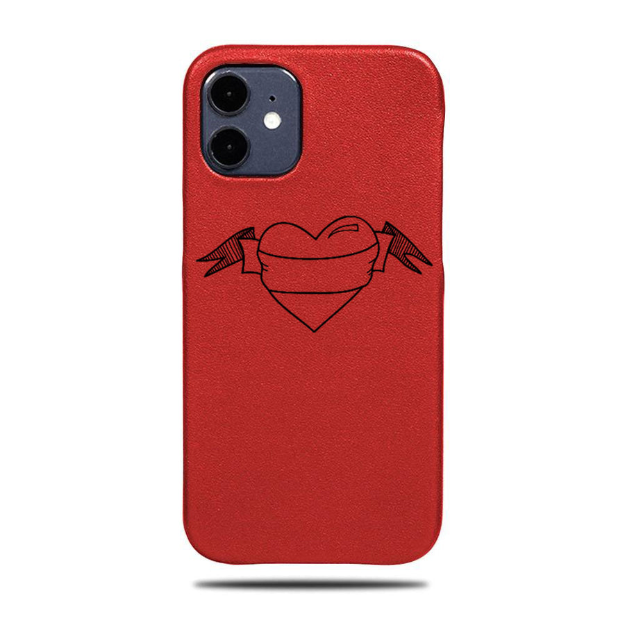 Personalized Scarlet Red Heart iPhone 12 mini Leather Case