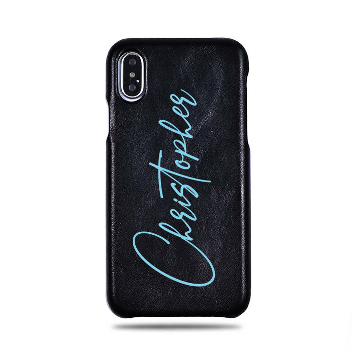 Personalized Signature iPhone Xs / iPhone X Black Leather Case
