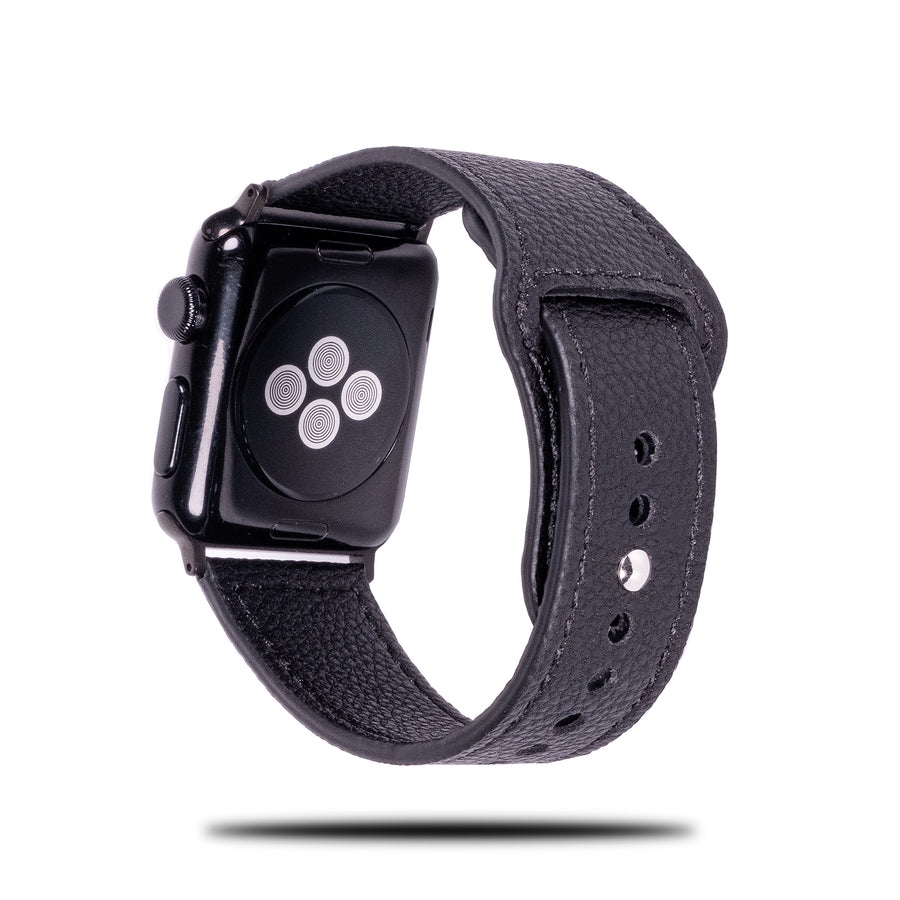 All Black Sporty Leather Apple Watch Band & Strap-Apple Watch Band-Kulör Cases