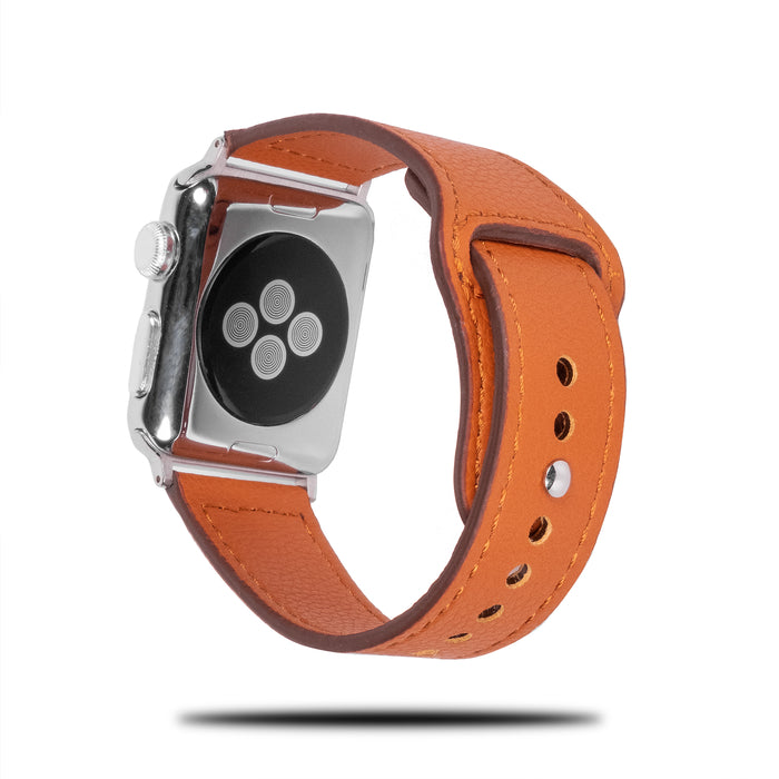 Oransje Sporty Leather Apple Watch Band & Stropp-Apple Watch Band-Kulör Cases