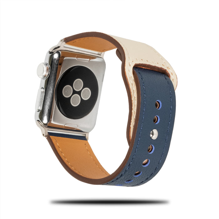 Blue & White Sporty Leather Apple Watch Band & Strap-Apple Watch Band-Kulör Cases