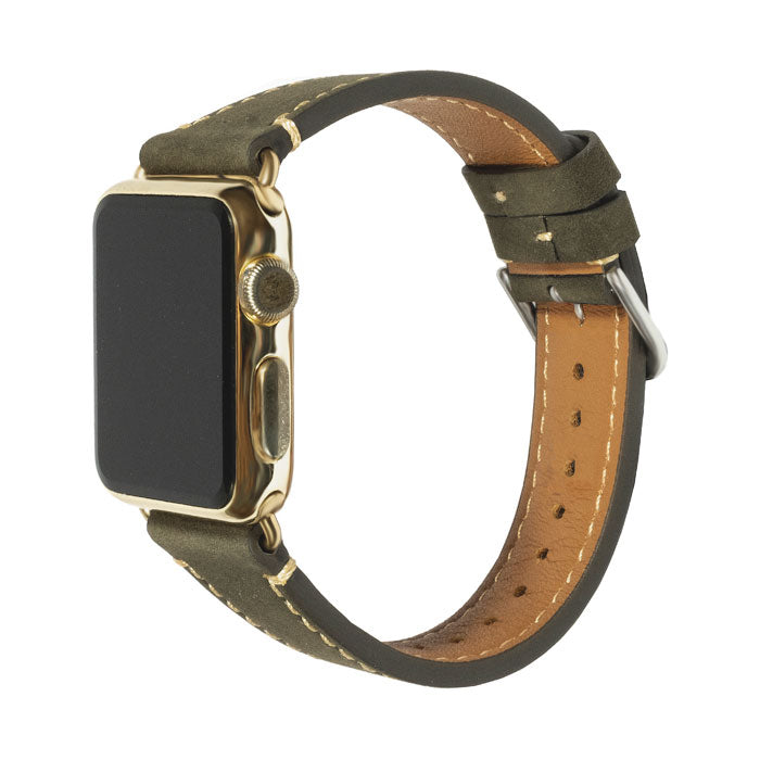 Olive Green Suede Leather Apple Watch Band - 38MM-Kulör Cases-Custom Leather Phone Cases