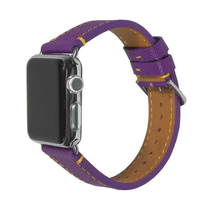Kjøp personlig Violet Lilla Saffiano Leather Apple Watch Band - 38MM / 40MM online-Kulör Cases