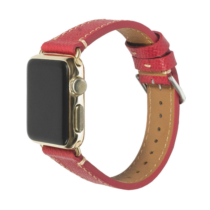 Raspberry Red Saffiano Leather Apple Watch Band - 38MM-Kulör Cases-Custom Leather Phone Cases