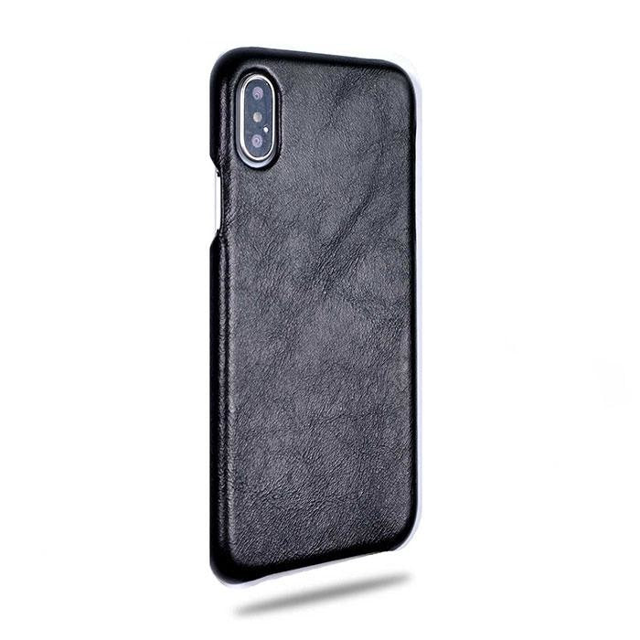 All Black iPhone Xs Max Leather Case-iPhone Xs Max Leather Snap-On Case-Kulör Cases