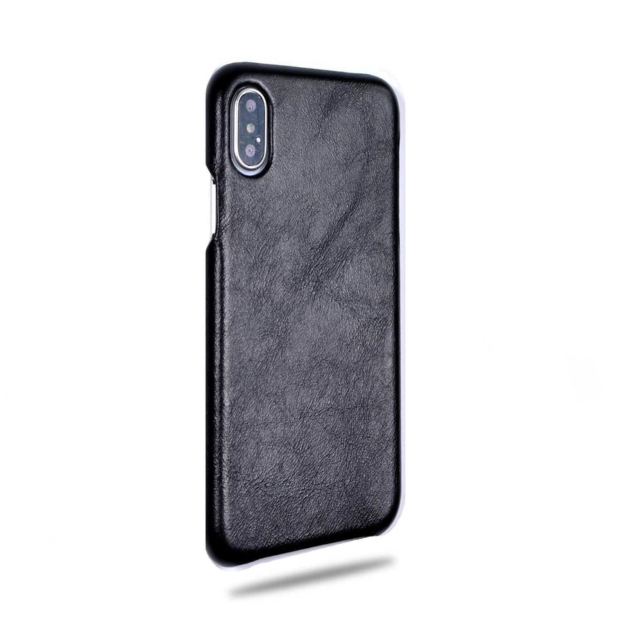 2bbefb3df7 All Black iPhone Xs / iPhone X Leather Case-iPhone Xs Leather Snap-On