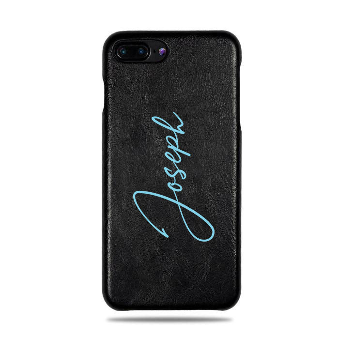 online store 1827d 0b06f Personalized Signature iPhone 8 Plus / iPhone 7 Plus Black Leather Case
